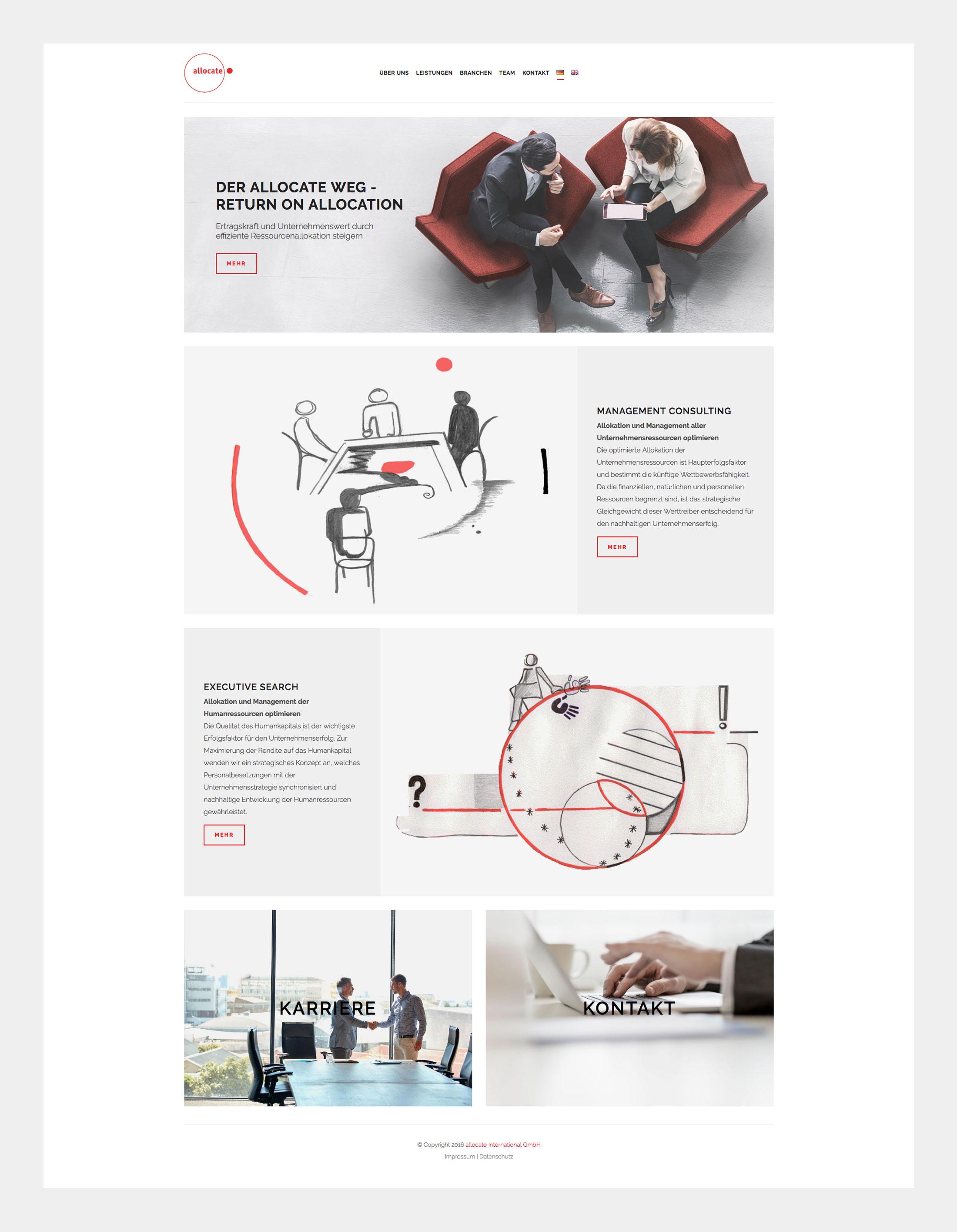 Homepage Allocate - Überblick