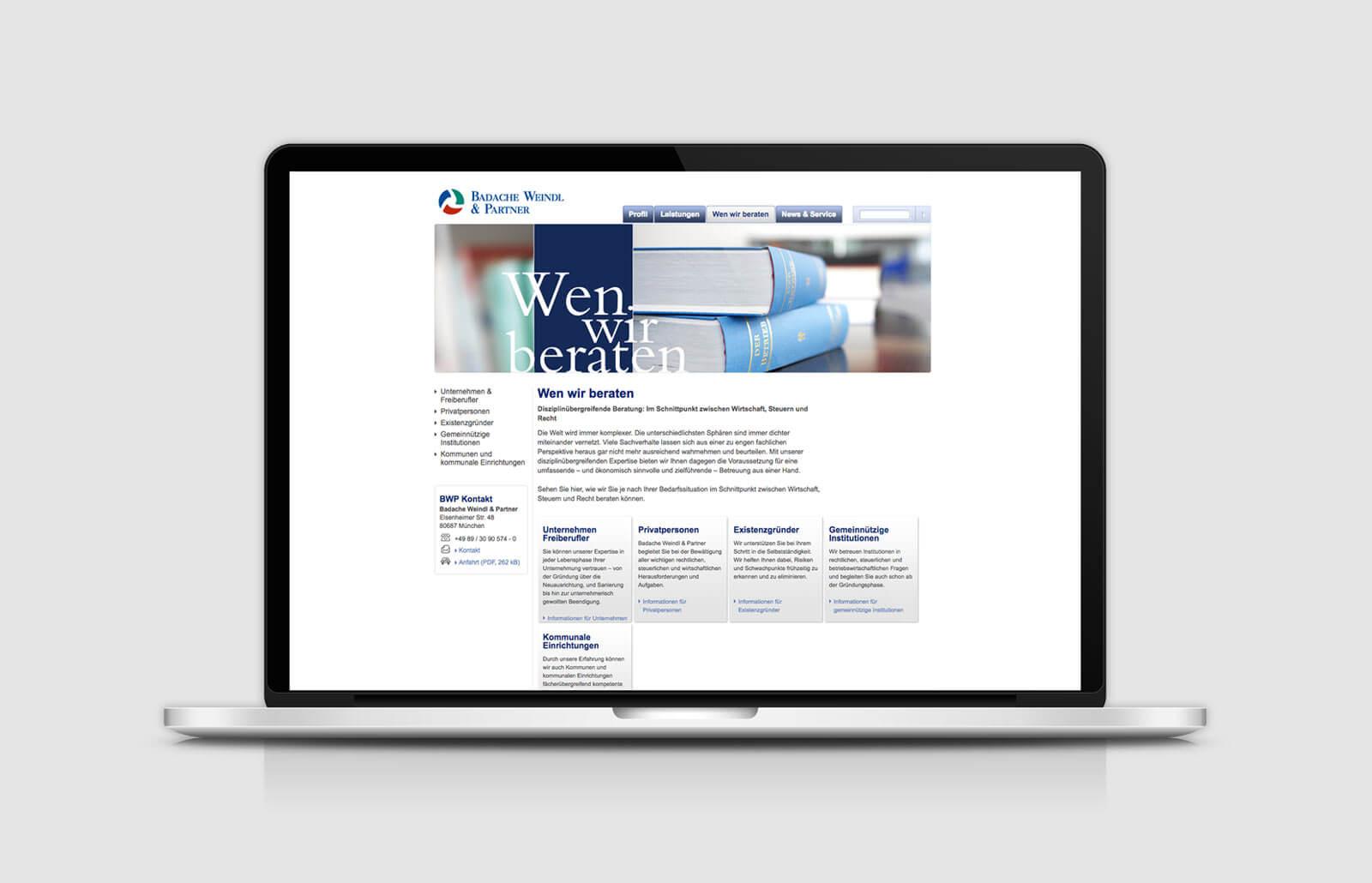Website Relaunch: Unterseite Badache Weindl Partner