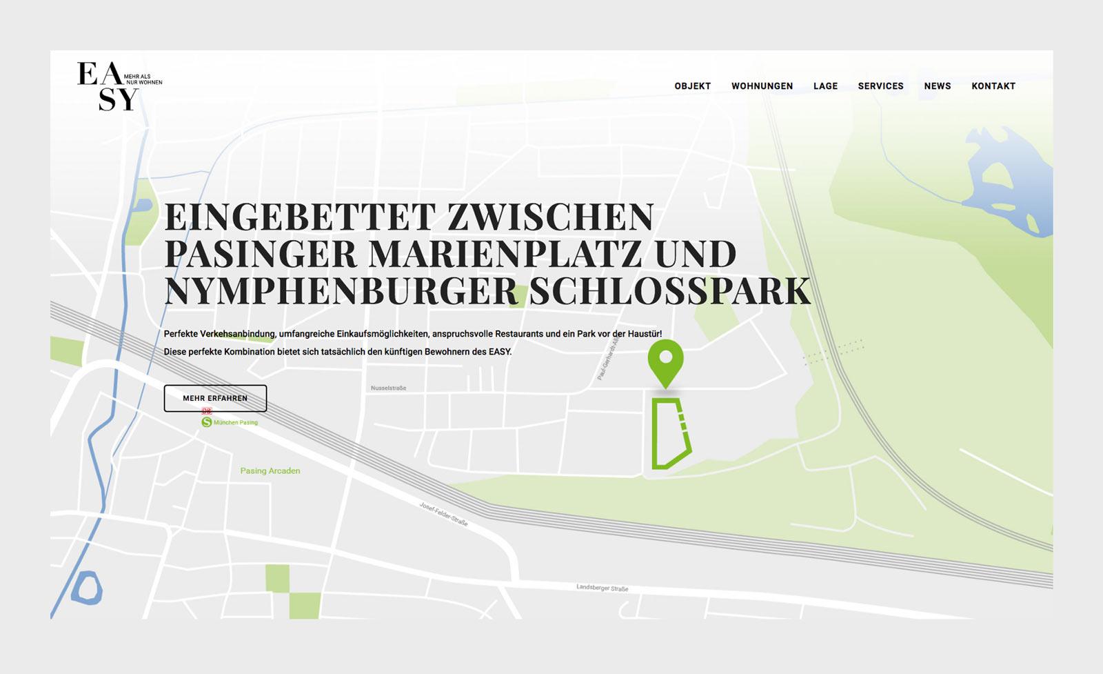 Lagekarte. Website EASY München