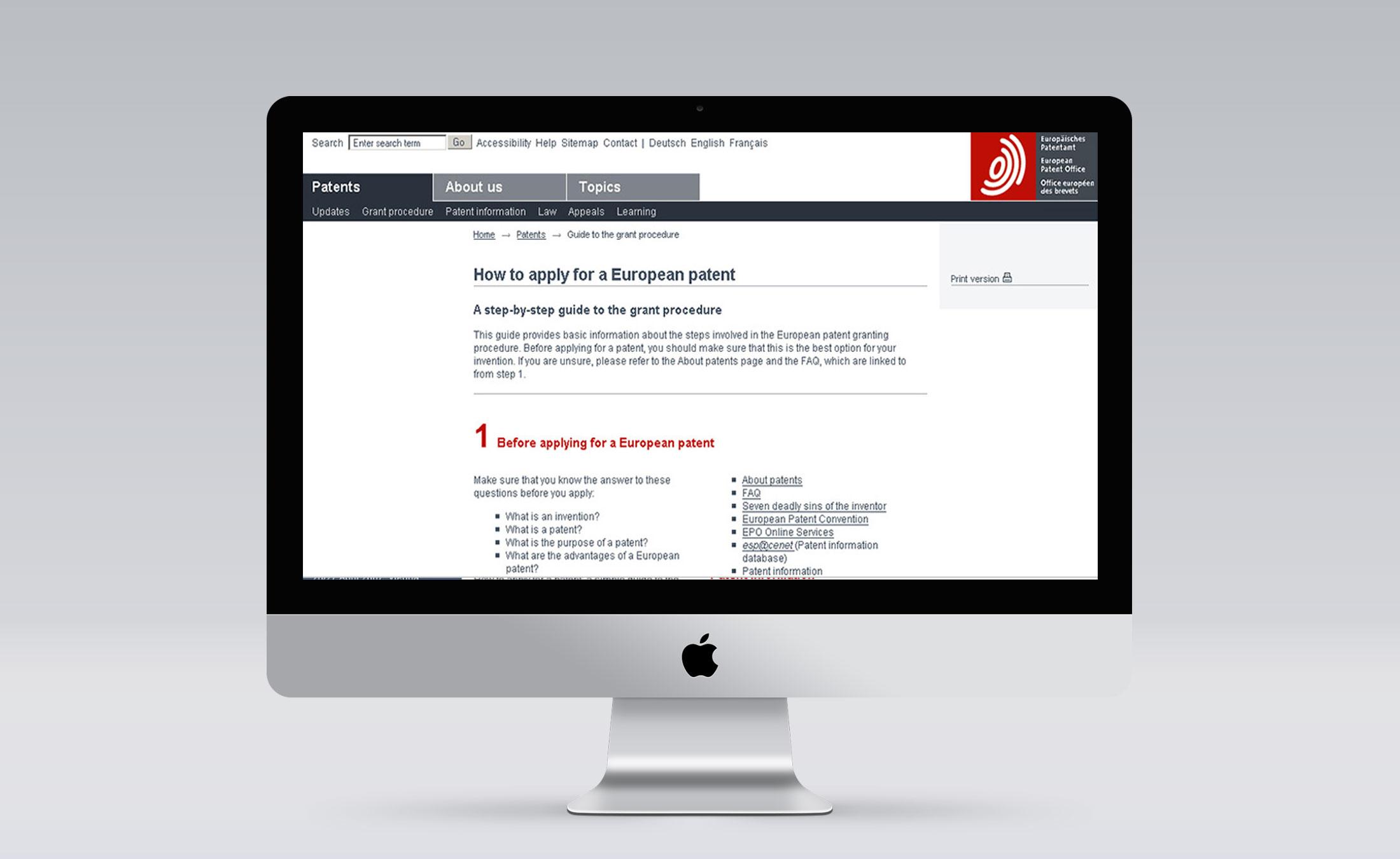Europaeisches Patentamt Screen 3