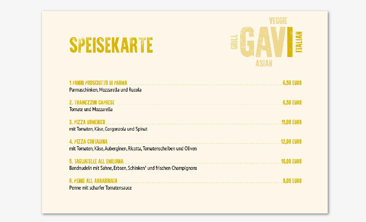 Speisekarte für Restaurant GAVI Asian Food