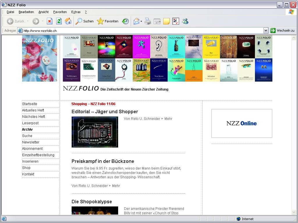 NZZ Folio Website Shopper