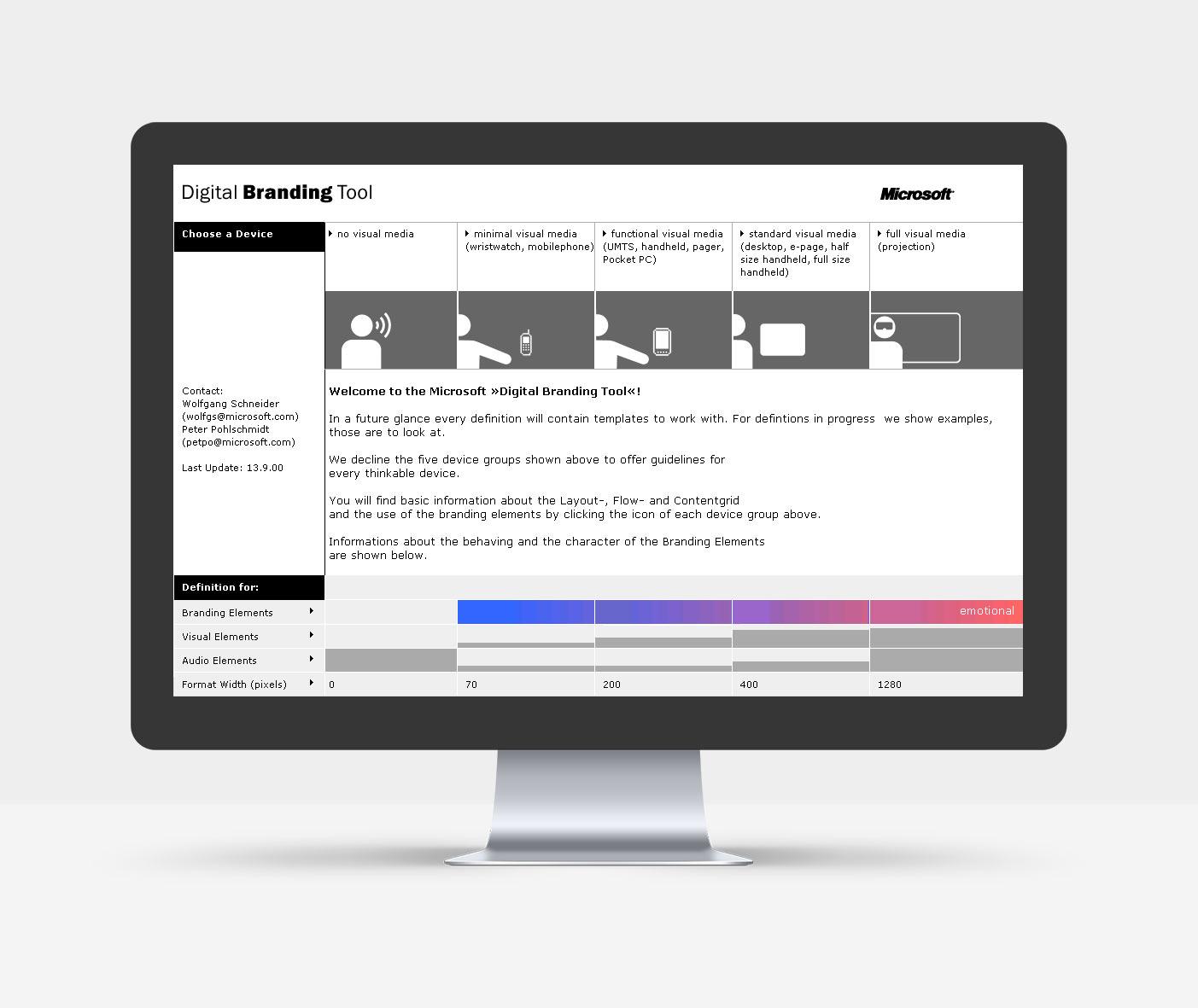 """Homepage des digitalen Style Guide """"Digital Branding Tool"""""""