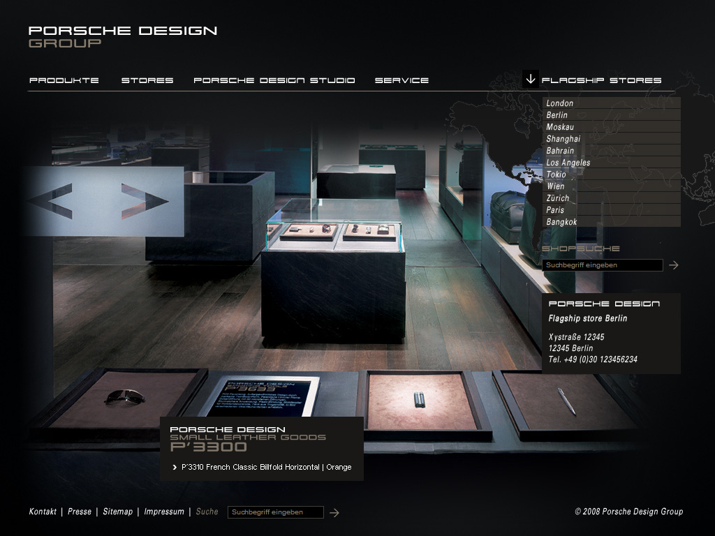 Website Relaunch Porsche Design Group_Flagship Stores