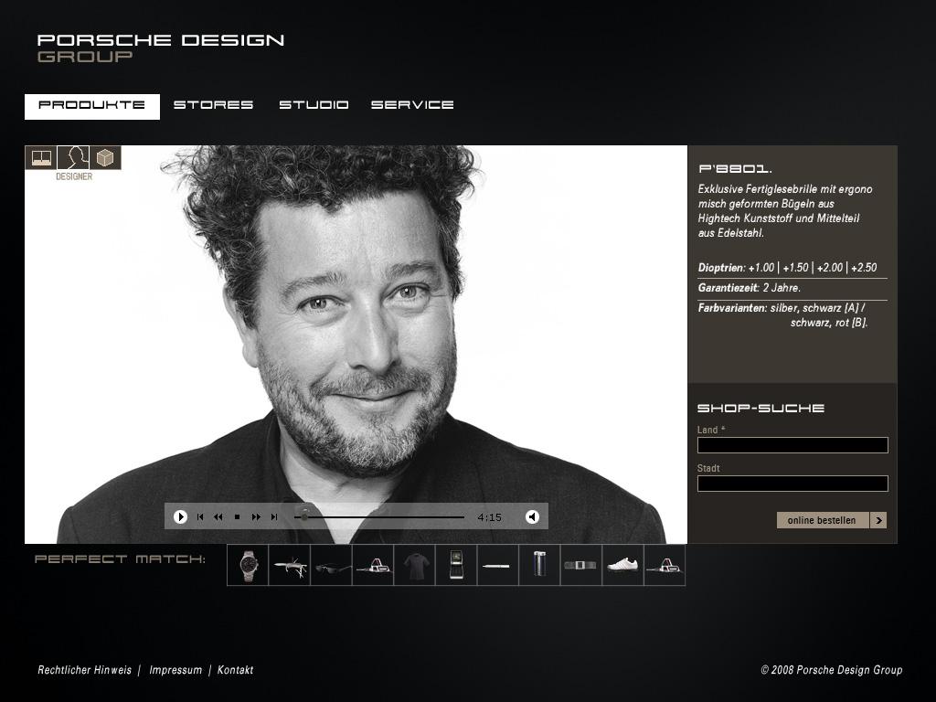 Website Relaunch Porsche Design Group_Portrait Designer