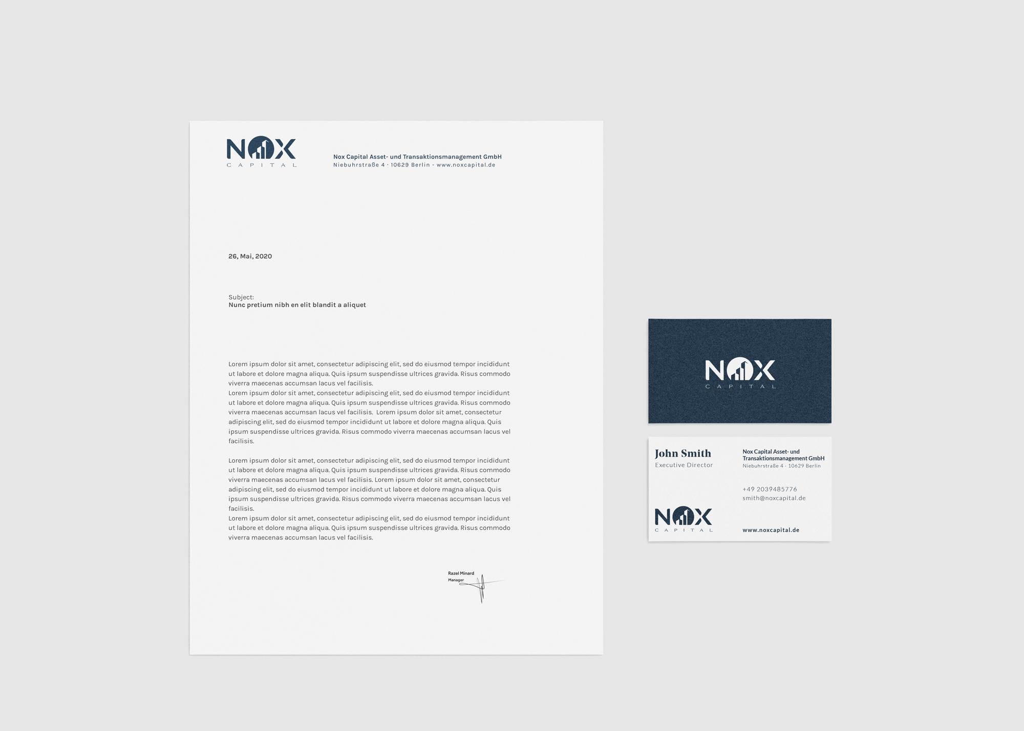 Corporate Design: Geschäftsausstattung Nox Capital
