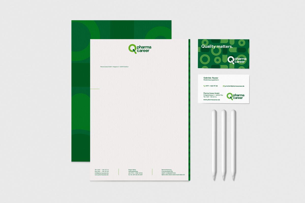 Briefpapier und Visitenkarten Pharma Career