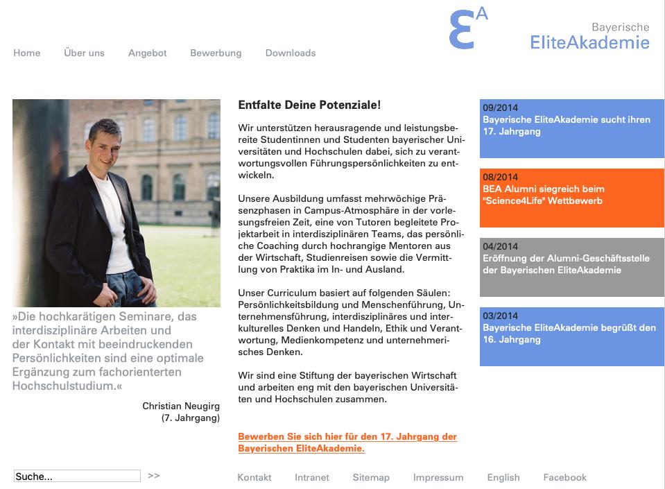 Screenshot Relaunch Website Bayerische Eliteakademie