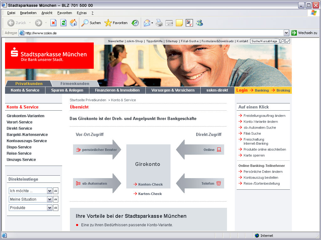 Stadtsparkasse Privatkunden Website Konto & Service