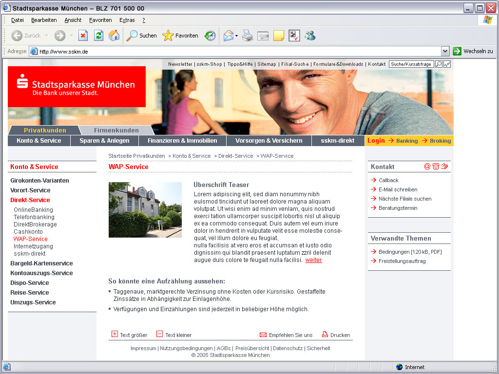 Stadtsparkasse Privatkunden Website WAP Service