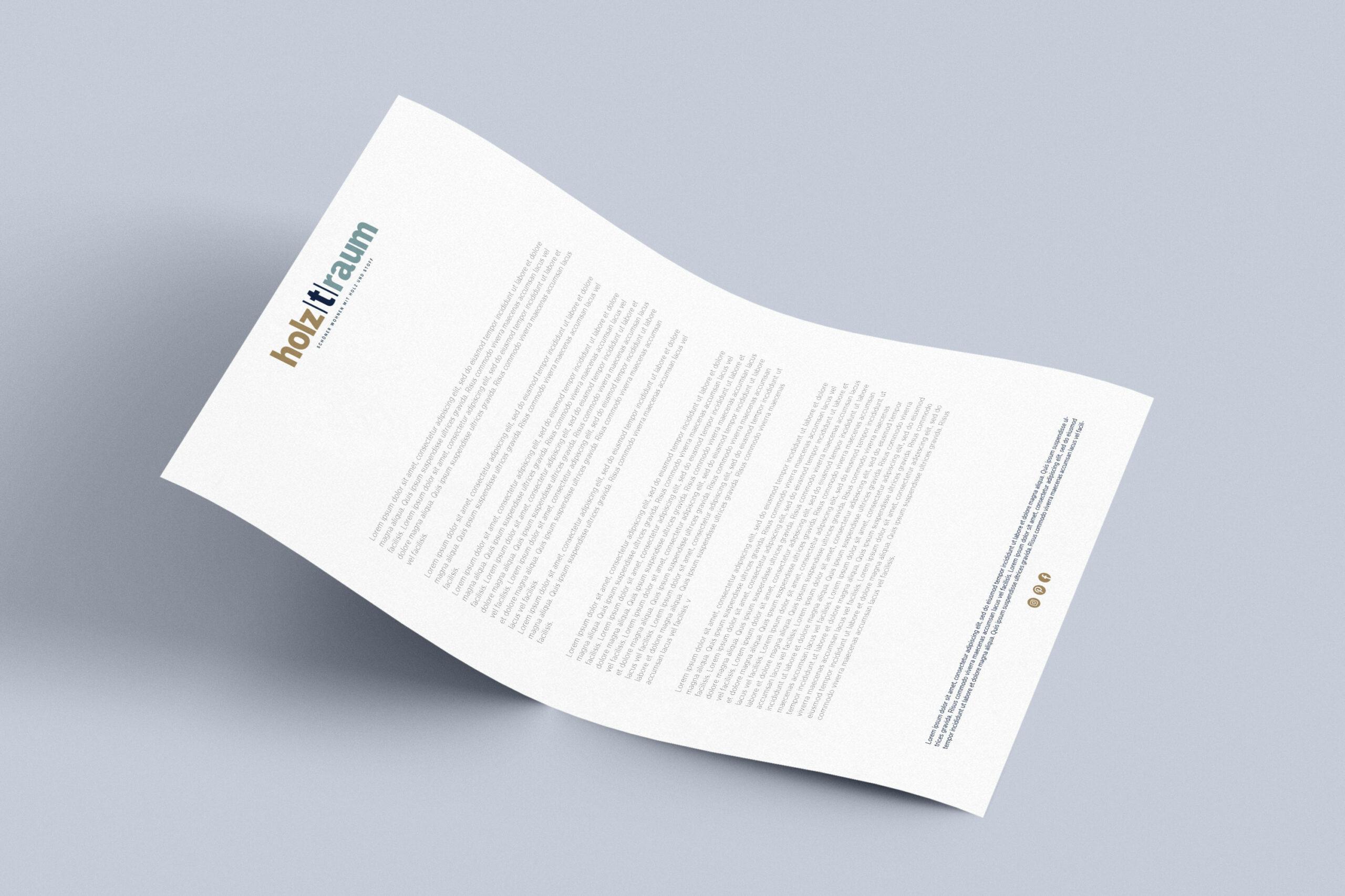 Neues Corporate Design für Holztraum: Briefpapier